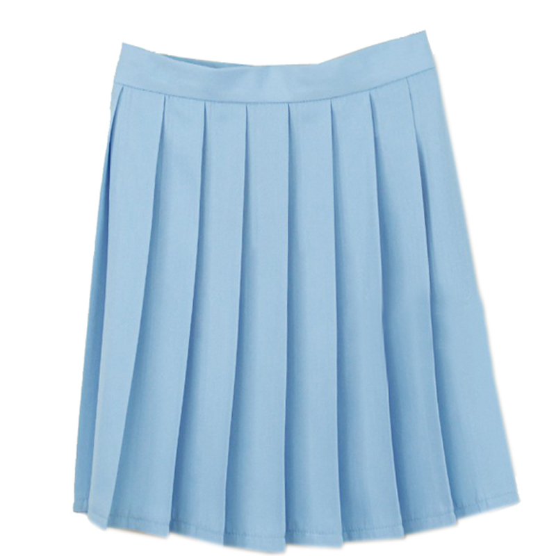 light blue pleated skirt high waist skirt