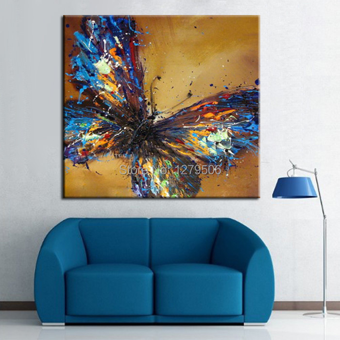 Handmade Abstract Adorable Blue Butterfly Art Oil Painting On Canvas Animal Paintings For Living Room Decor(China (Mainland))