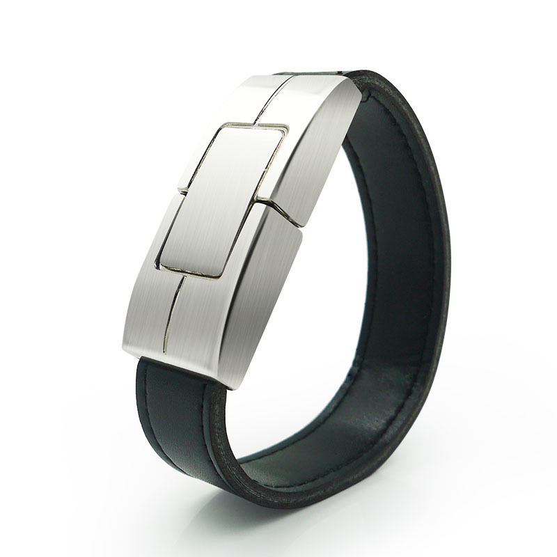 free shipping cheapest factory price leather usb watch 8gb black bracelet usb(China (Mainland))