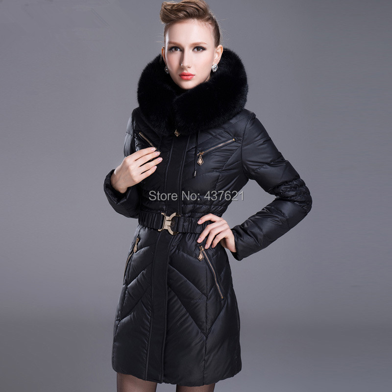 7 Colors!Skinnwille 2015 Women's large real Rabbit Fur Collar Hooded Slim Jacket female brand design jackets ladies coats - Happy Time Store 437621 store