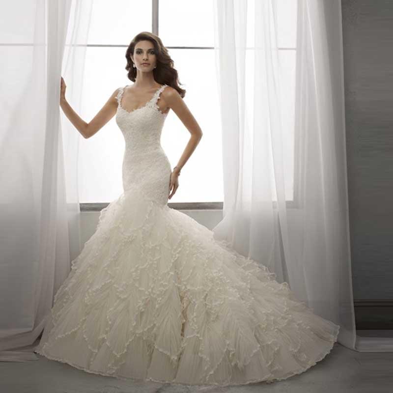 Блестками аппликации милая органзы русалка с оборками поезд размер свадебное платье свадебные платья мода 2016 новый