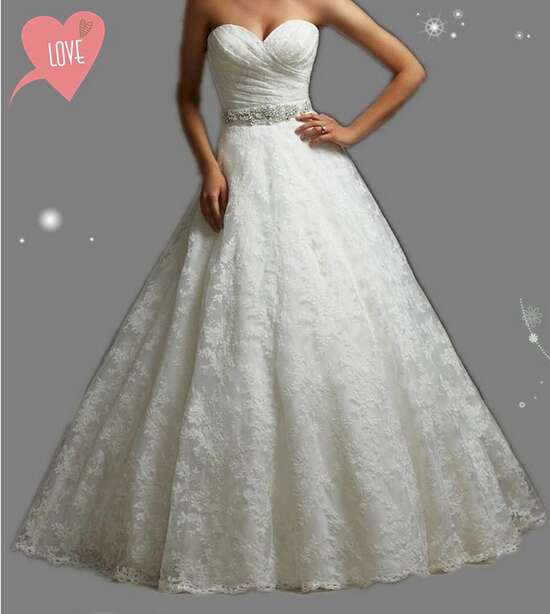 9057 embroidery strapless White Ivory gown with Crystal Beads Wedding Dresses 2015 Bridal Dress plus size party maxi elegant(China (Mainland))