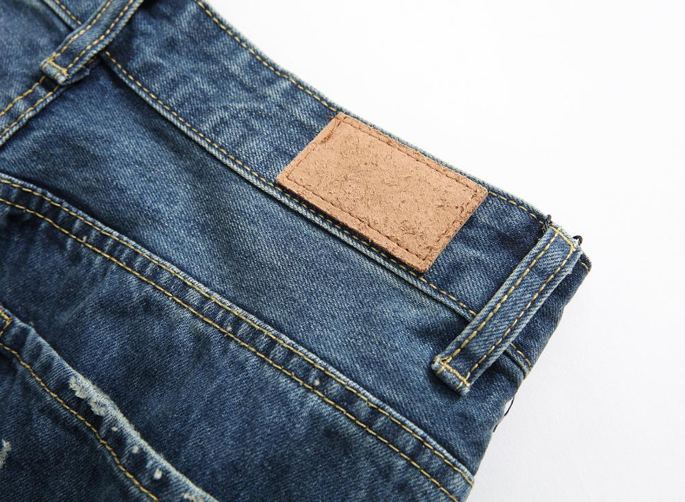 ripped jeans for men 2017 Spring and Autumn New products fashion badge embroidery  trousers Hole patch Straight pants C198