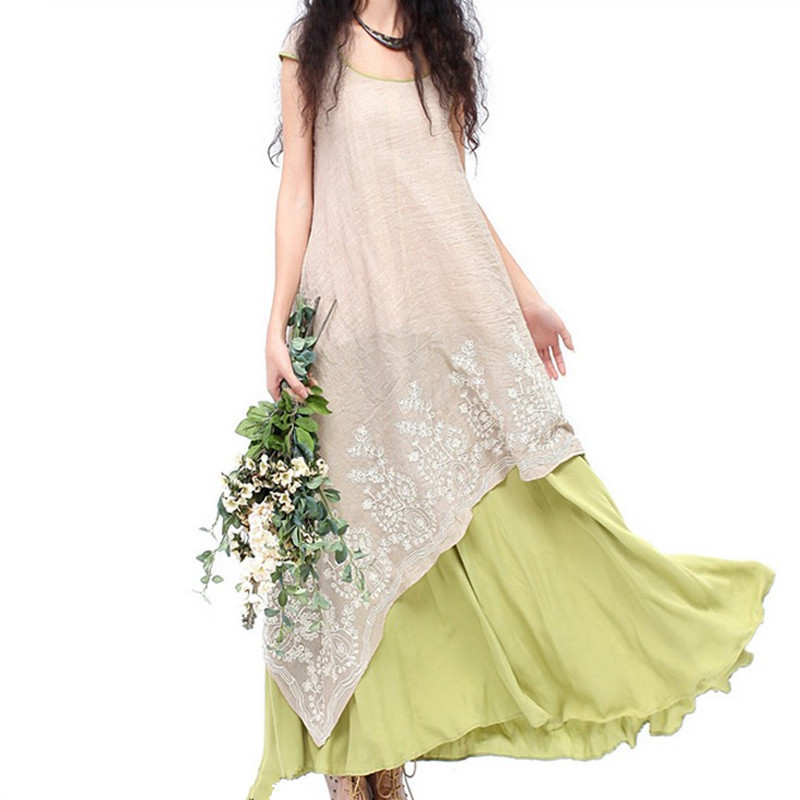 2015 summer new national wind ladies leave two put on a large cotton dress embroidered linen wholesale(China (Mainland))