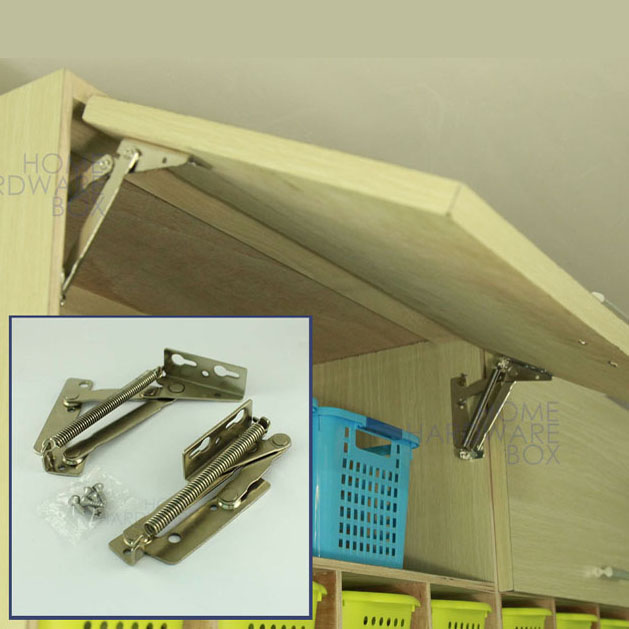 pair of cabinet door lift up flap top support spring kitchen hinges stay sprung(China (Mainland))