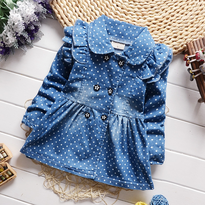 2016 spring new Korean children girls lovely polka dots denim jacket female baby cotton jean lapel coat kids emperament outfits(China (Mainland))