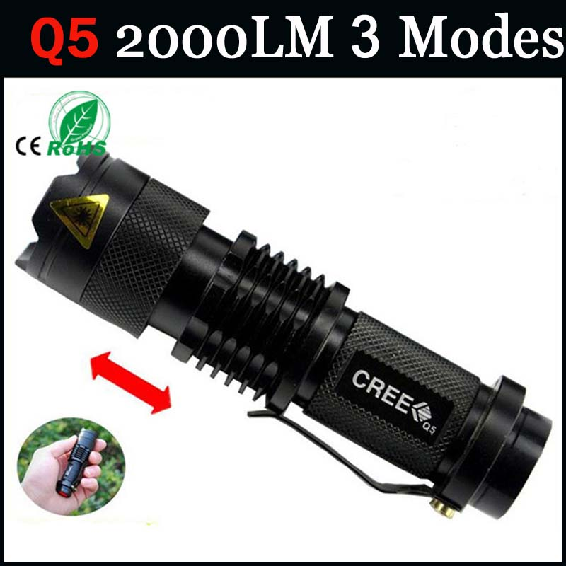 zk93 CREE Q5 led flashlight high power mini zoomable 2000LM 3 modes waterproof glare torch 14500/AA bicycle(China (Mainland))