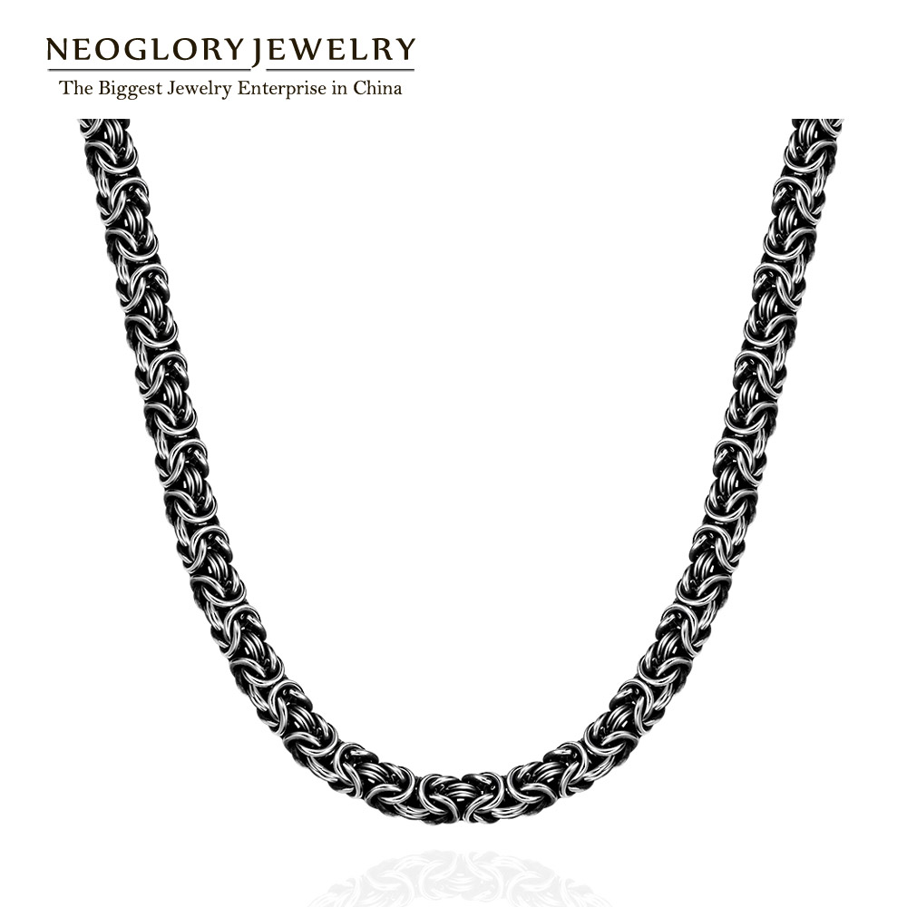 Neoglory Jewelry Stainless Steel Black Popular Punk Style Chain Necklace For Men Birthday Gifts 2016 New(China (Mainland))