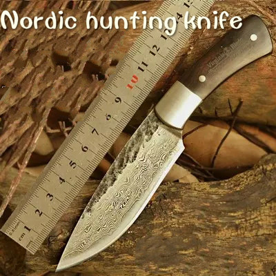 HUNTING KNIFE Hand Hammered Nordic Bowie outdoor knife pattern steel knife Damascus survival knife sharpknife collection process(China (Mainland))