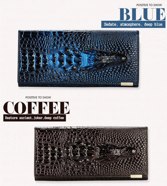 Women Wallet Female Coin Purses Holders Brand Genuine Leather 3D Embossing Alligator Ladies Crocodile Long Clutch Wallets