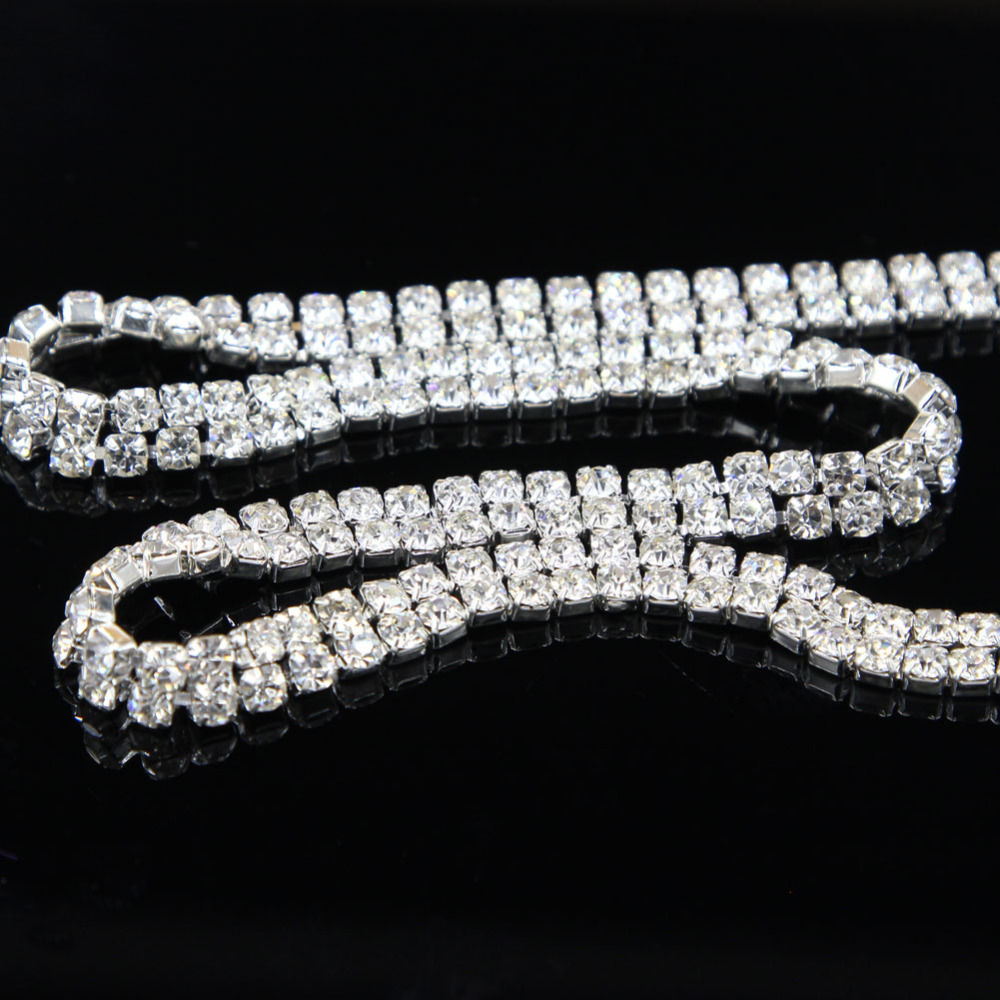 Sale! 1 Yard 2 Rows Crystal Cake Banding Rhinestone Wedding Topper Bouquet Jewelry Freeshipping(China (Mainland))