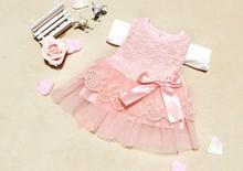Summer Style Cotton Kids Bow Lace Ball Gown Casual Chiffon Princess Baby Girls Dresses(China (Mainland))