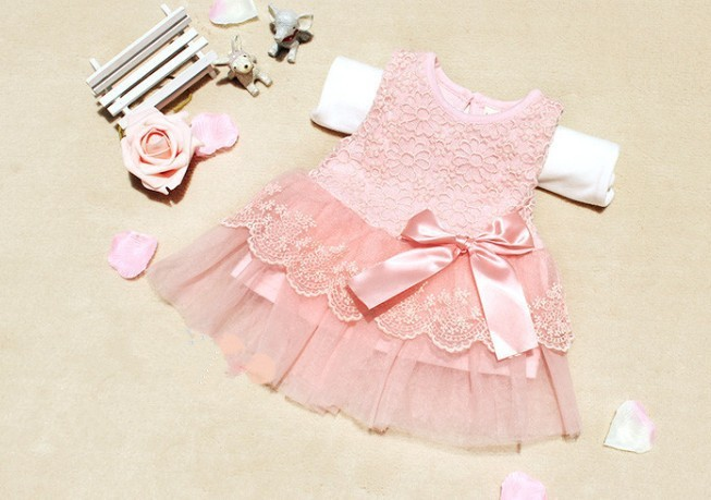 Summer Style ! Cotton Kids Bow Lace Ball Gown Casual Chiffon Princess Baby Girls Dresses(China (Mainland))