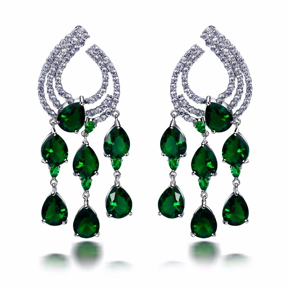 Dressed Women Fashion Drop Earrings AAA Cubic Zirconia Platinum Plated Brass Lead free Girlfriend Gift Flower Design Nice Gift(China (Mainland))