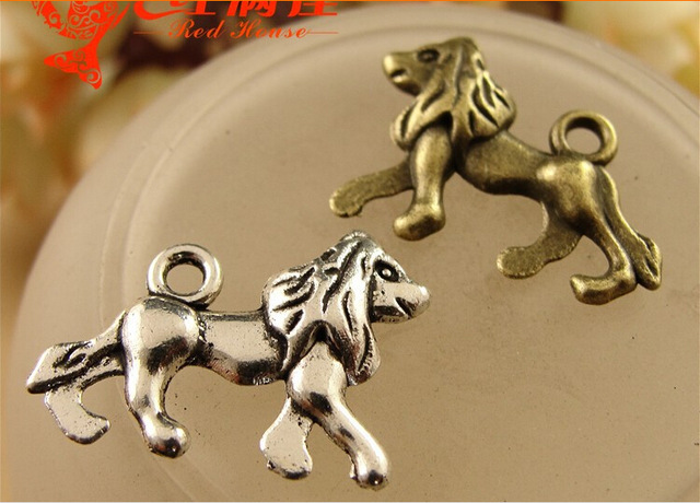 19*21MM Antique Bronze DIY retro lion pendant jewelry accessories, metal tibetan silver lion charms, vintage brass animal charms(China (Mainland))