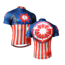 2016 Long-lasting Captain American Graphic Short Sleeves Cycling Jersey Workout Fitness Bike Clothing Body Building T-Shirt(China (Mainland))