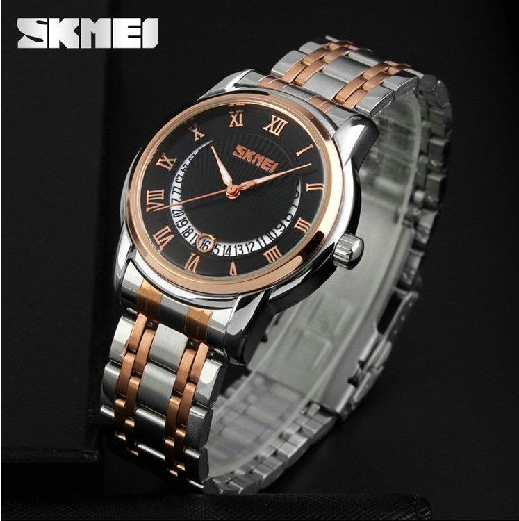 Alibaba skmei марка часы, мужчины наручные часы из нержавеющей стали обратно водонепроницаемый 3atm