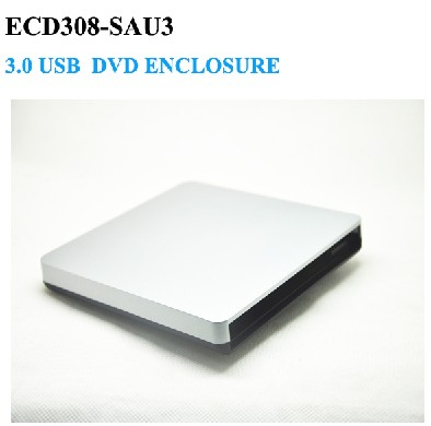 Silver Slot in USB 3.0 SATA Interface Laptop Notebook CD DVD RW Burner ROM Drive External Case Enclosure Caddy No driver(China (Mainland))