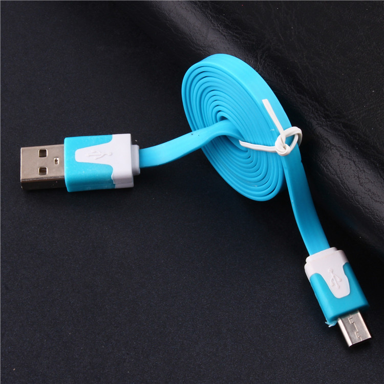 mobile phone cables,charge and sync flat noodle micro usb cable for android samsung htc huawei lenovo 1m(China (Mainland))