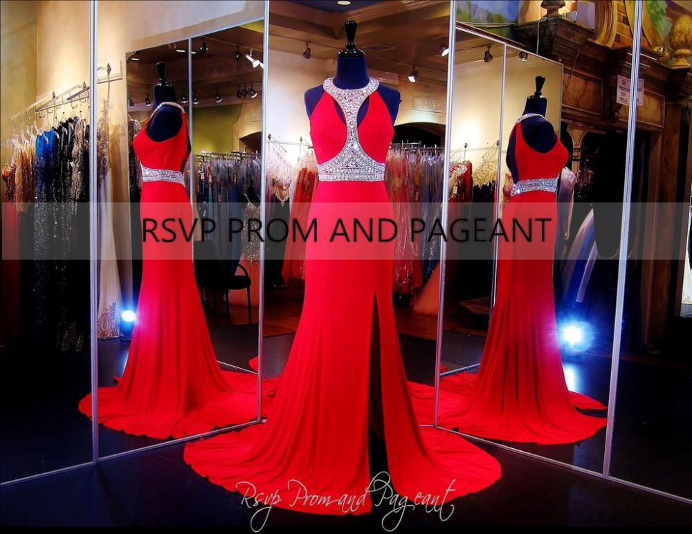 RSVP-0074 Long Mermaid Prom Dresses 2015 O-neck Side Slit Crystals Beaded Floor Length Chiffon Backless Red Dress - Rsvp and Pageant CO.,LTD store