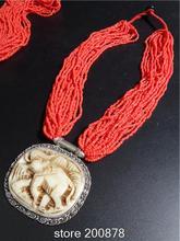TNL548  Nepal Inlaid Carved Elephant pendants Necklace coral Tribal fashion Wholesale Tibetan Jewerly(China (Mainland))