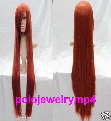 Wholesale& heat resistant LY free shipping>>New Cosplay Long Straight Dark Orange Women's Full Wig + 100cm