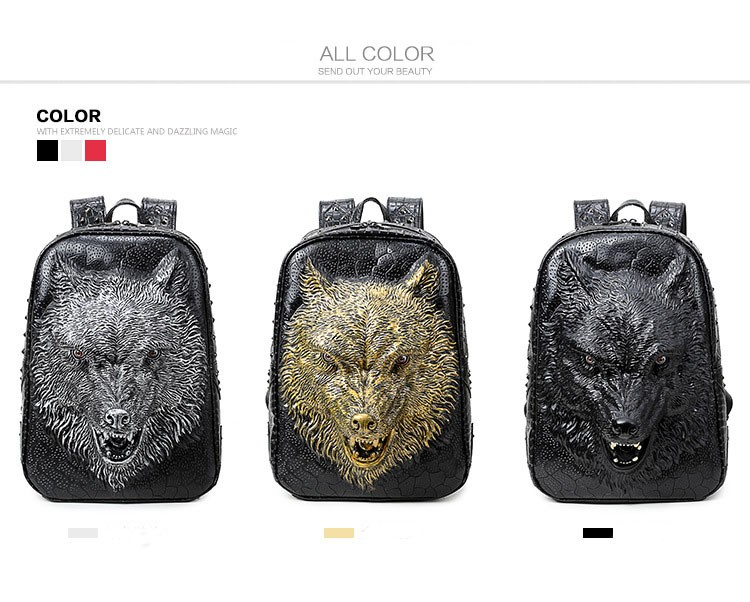 dfdfdd0b7d27 DIOMO Stylish Backpacks 3D Wolf Head Backpack Special Cool Shoulder ...