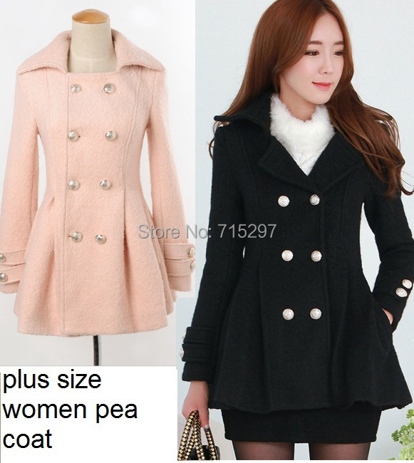 New fashion women winter pea coat plus size long sleeves outwear ladies double breasted trench coat Q98321 autunno inverno 2015(China (Mainland))