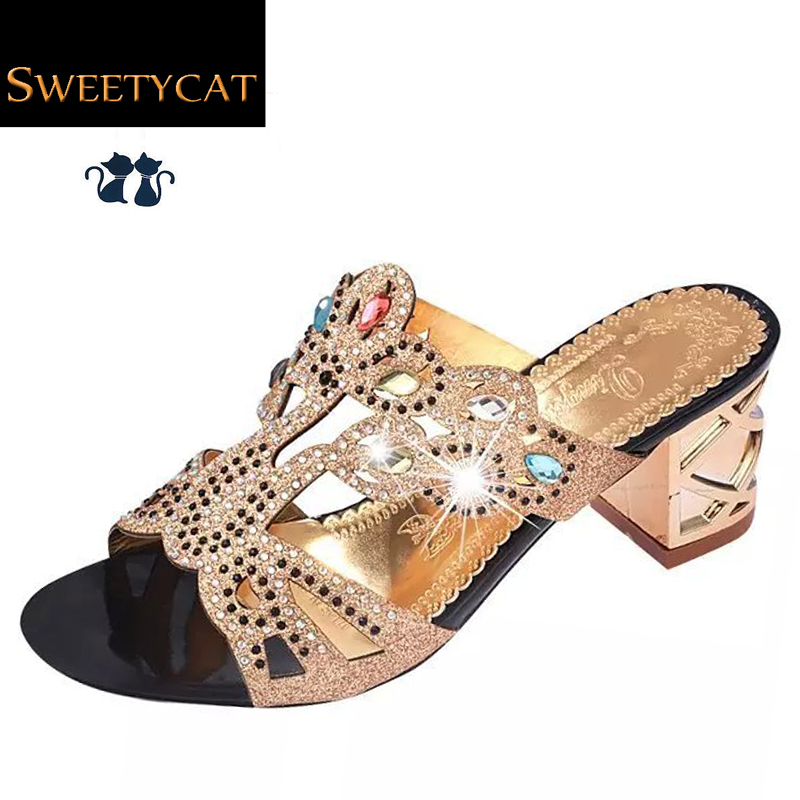 Size 35-41 New 2016 Fashion Summer Shoes Woman Rhinestone Cut-outs High Heel Sandals Ladies Party Shoes Women Slippers L35(China (Mainland))