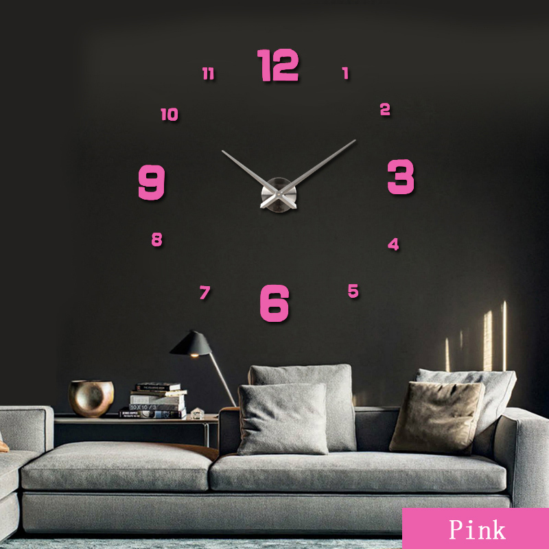 2016 new clock watch clocks Large Wall Stickers home decoration Living Room 3d diy Acrylic mirror horloge free hot shipping(China (Mainland))