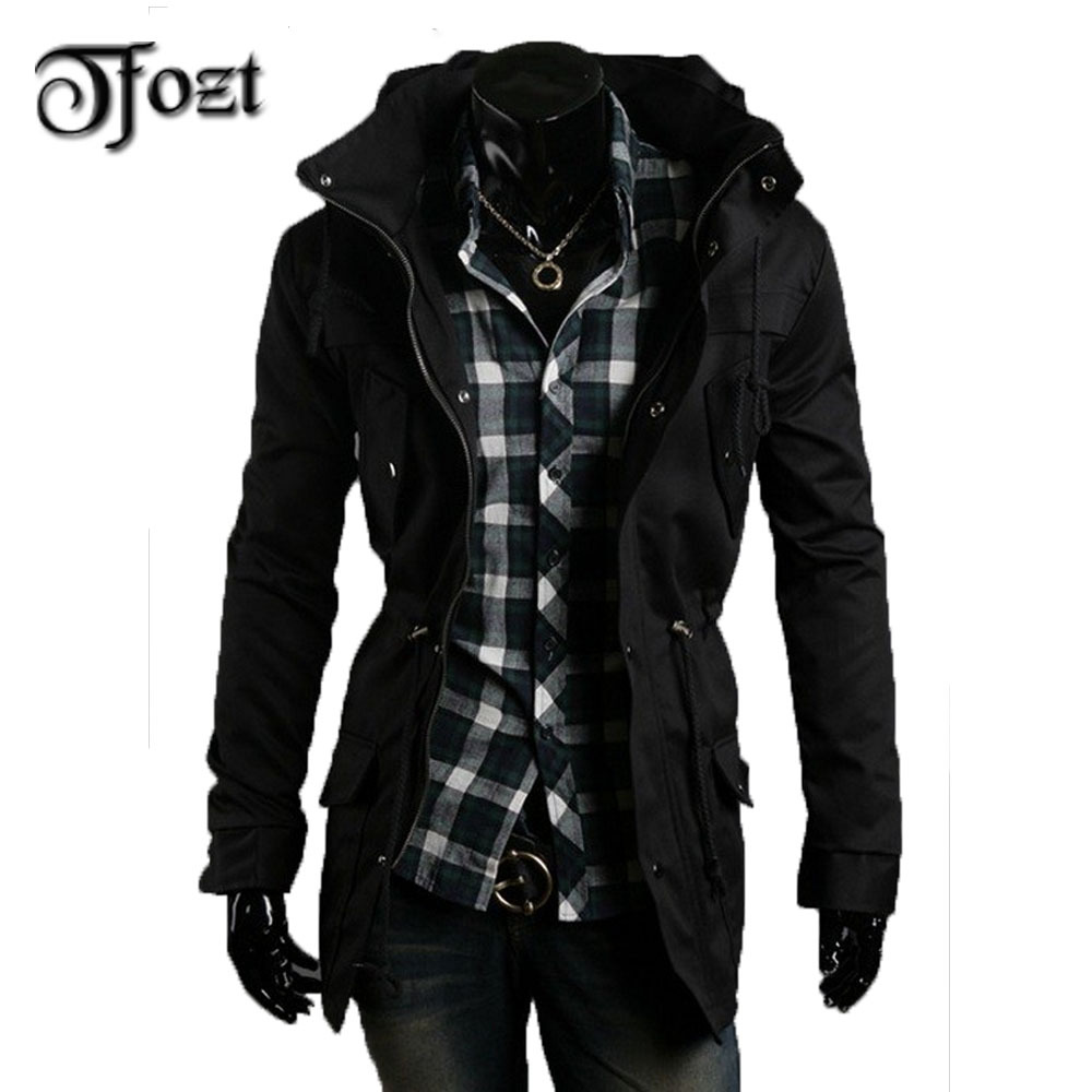 2015 New winter fashion jacket coat For Men soild zip design Outdoor Jacket long Cloak AFS JEEP fit jacket 27008(China (Mainland))