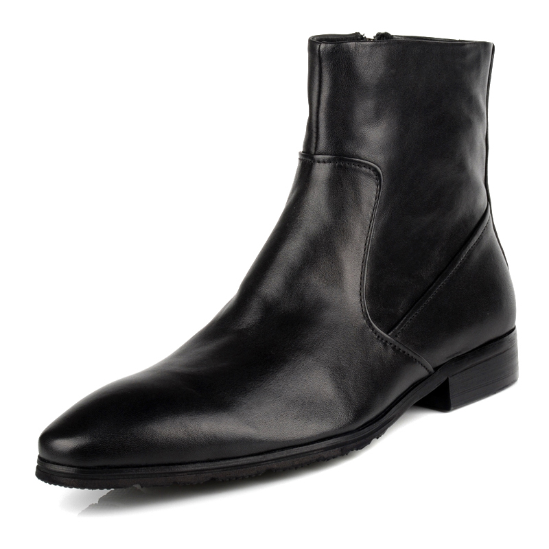 Fashion zipper first layer of cowhide men boots fashion pointed toe genuine leather casual martin boots<br><br>Aliexpress