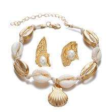 Hot Fashion Sea Shell Wanita Anting-Anting + Gelang Set Emas Warna Trendy Pernyataan DROP Menjuntai Anting-Anting untuk Wanita Pantai Perhiasan set(China)