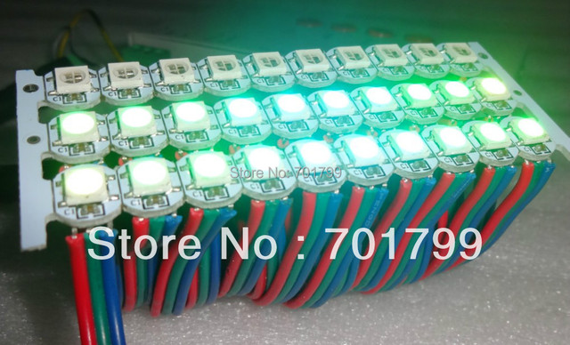 50pcs pre-soldered WS2812B led with heatsink(10mm*3mm);DC5V input;5050 SMD RGB with WS2811 ic built-in