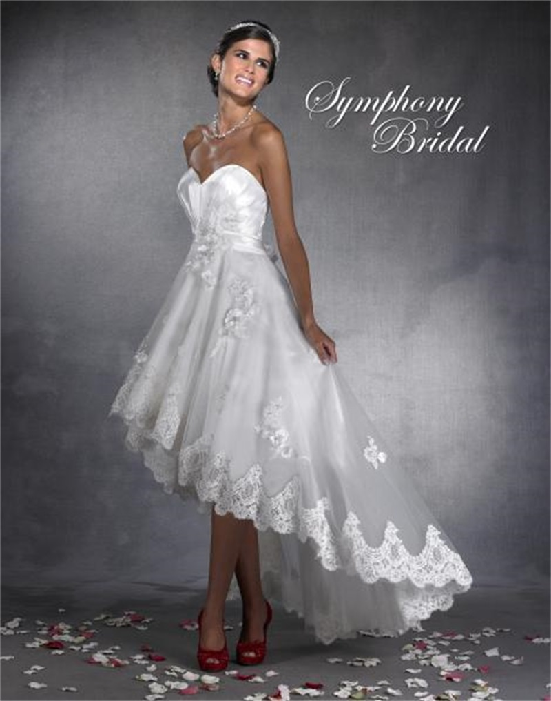 High quality high low wedding dress 2015 sweetheart for Wedding dress for a short bride