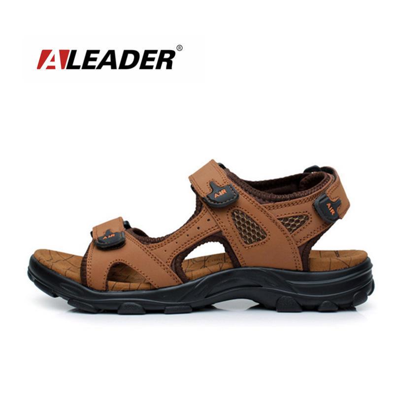 New 2014 Summer Men's Casual Outdoor Sports Genuine Leather Beach Sandals Shoes Sandalias
