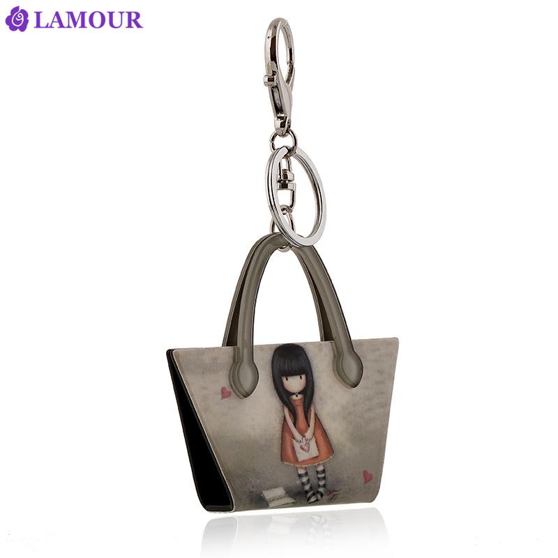 Charm bag key chains key rings printing fashion beautiful anime little girl key chain hot Boutique creative gifts llaveros(China (Mainland))