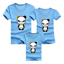 2016 Family Clothing 1 Pc 95% Cotton 18 Colors Family Set T Shirts Matching Clothes Men Women Kids Large T-shirt Angry Panda