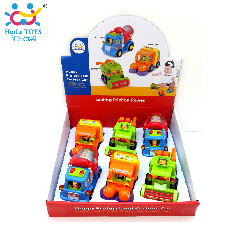 Free Shipping High Quality Wholesale Children Toy 6pcs/lot Friction Car Street Sweeper Cement Harvest Truck Cheap Baby Toys Gift(China (Mainland))