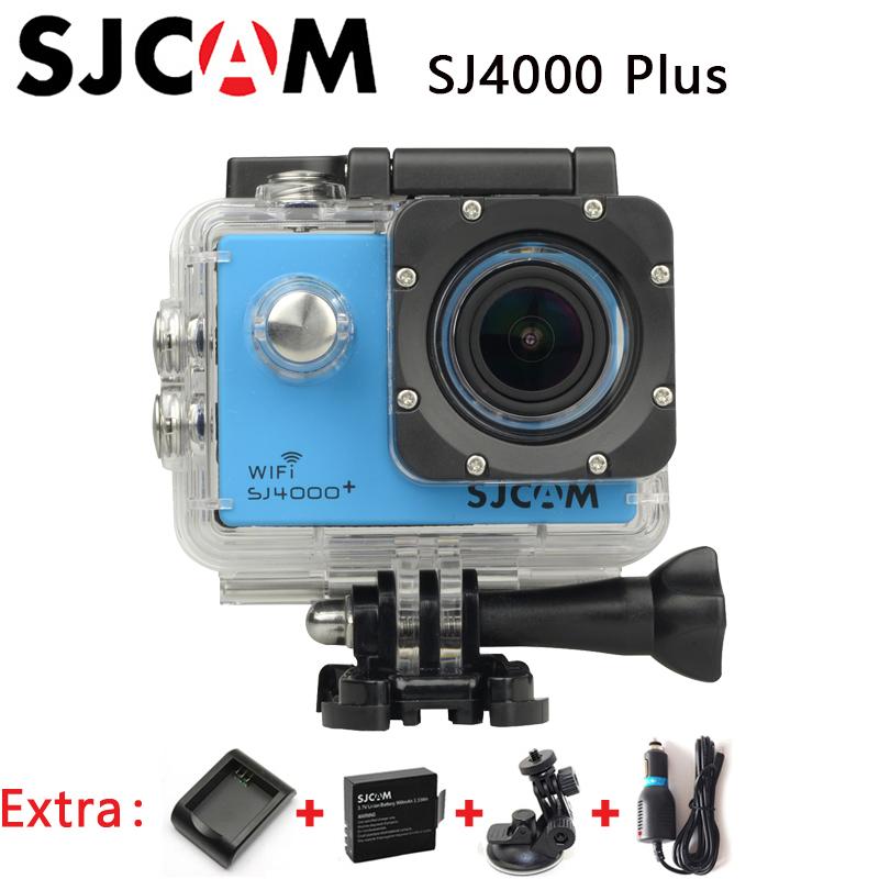 Original SJCAM SJ4000 Plus WiFi 2K Gyro Sport Action Camera Waterproof Cam+Extra 1pcs battery+Battery Charger+Car Charger+Holder(China (Mainland))