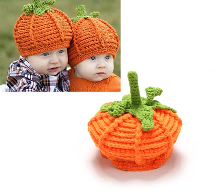 New Arrival Baby Pumpkin Hats Crochet Knitted Baby Kids Photo Props Infant BABY Costume Winter Hats 1pc Free shipping MZS-14060(China (Mainland))
