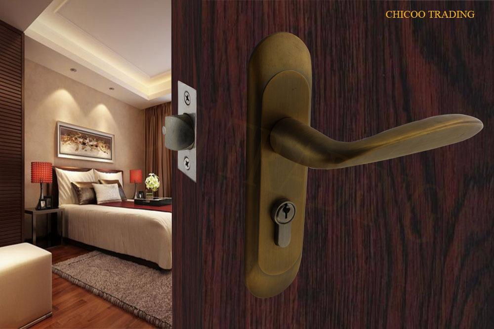 2015 NEW Zinc alloy  door lock with plate,Antique yellow bronze lock,entry room lever handle door lock<br>