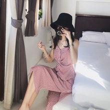 Mishow 2019 летнее сексуальное женское платье миди винтажное платье с открытыми плечами свободное без рукавов клетчатое платье на бретельках пл...(China)