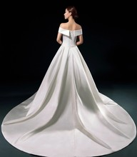 long train luxury wedding gowns vintage white satin bandage sexy wedding dress boat neck plus size wedding dresses WED90014(China (Mainland))