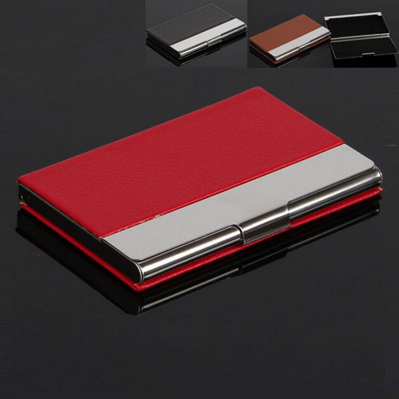 Men39s pu leather business card holder casual pocket id for Leather pocket business card holder