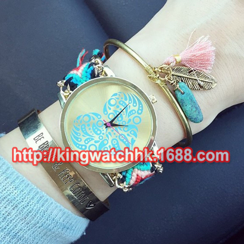 100pcs/lot,Heart Friendship Bracelet Watches 2015 New Design Fashion Ladies Women Geneva Braid Wrist Watches Dressing Watches<br>