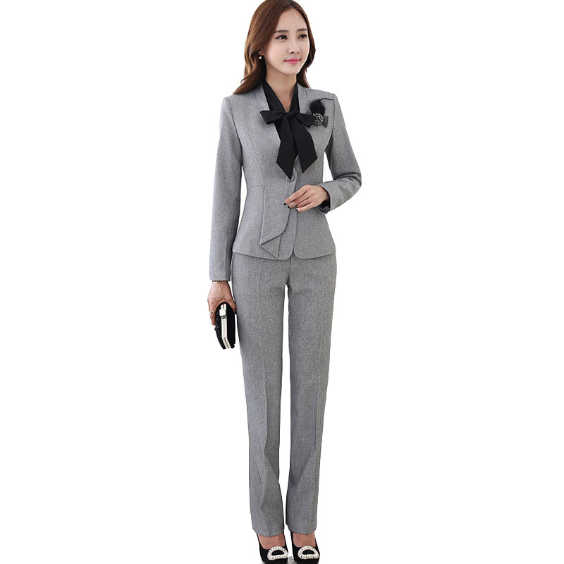 Luxury Gray Women Business Suits Formal Office Suits Work Women Pant Suits