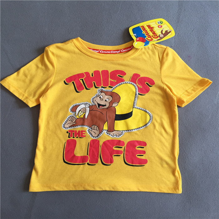2T 3T 4T 5T Retail 1 piece Free shipping boy clothing curious george yellow short sleeve t shirt top summer Tee(China (Mainland))