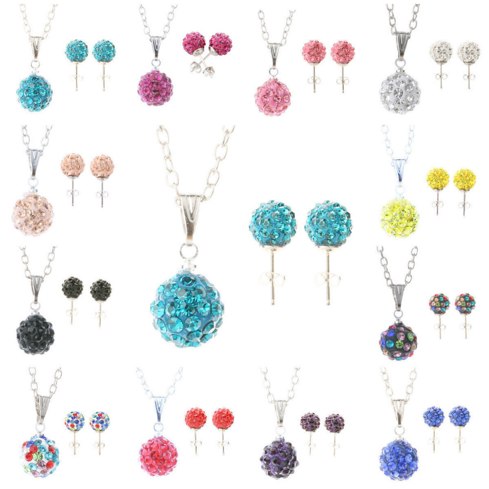 Shamballa Crystal Bead Disco ball Silver Necklace & Stud earring Set(China (Mainland))