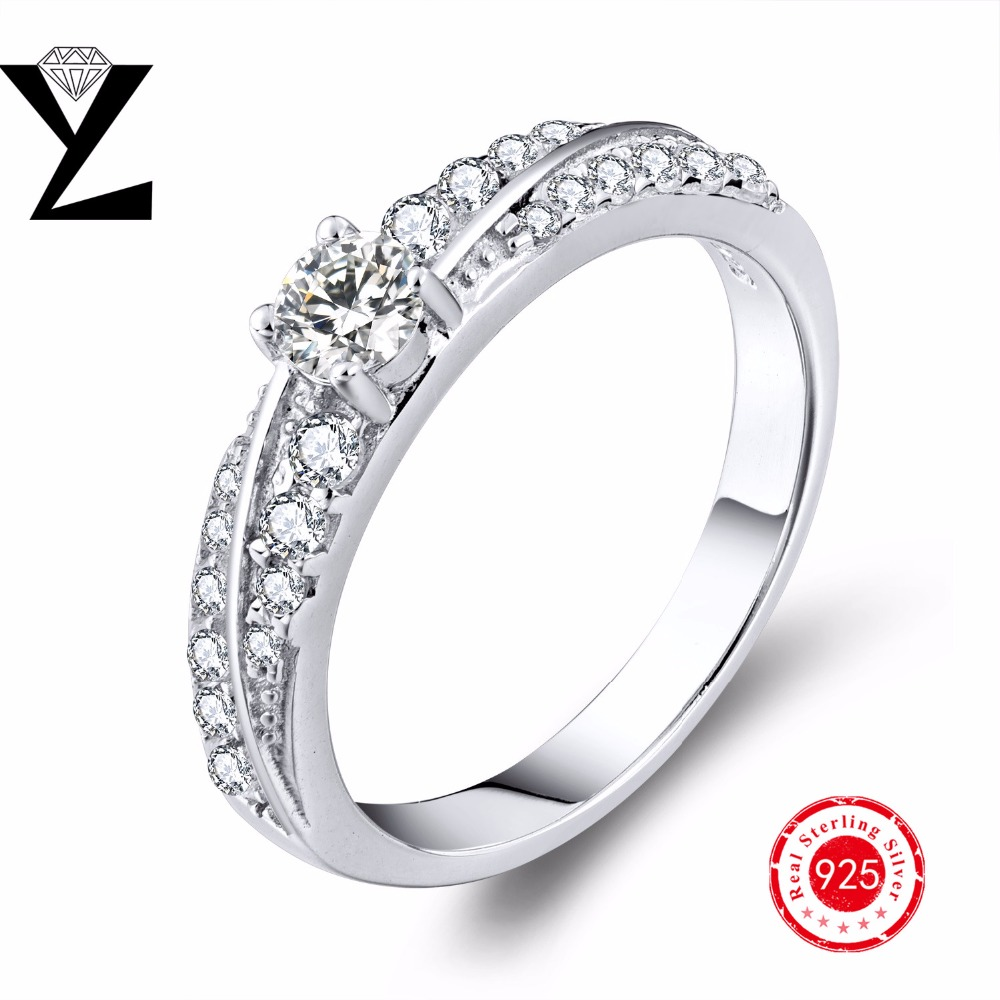 Romantic Real 925 Sterling Silver Halo Rings For Women Wedding Engagement Fashion Finger Rings chain Wholesale(China (Mainland))